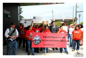 State Rep Ryan Winkler marching with striking workers