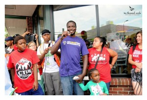 homecare worker standing with fast food workers