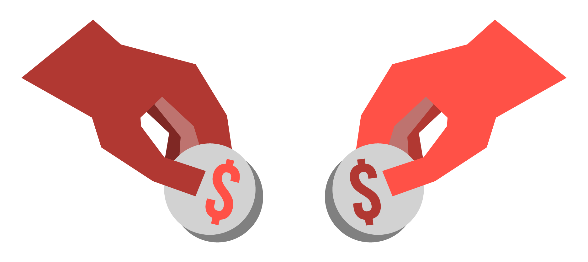 An illustration of two hands depositing coins with dollar signs on them.