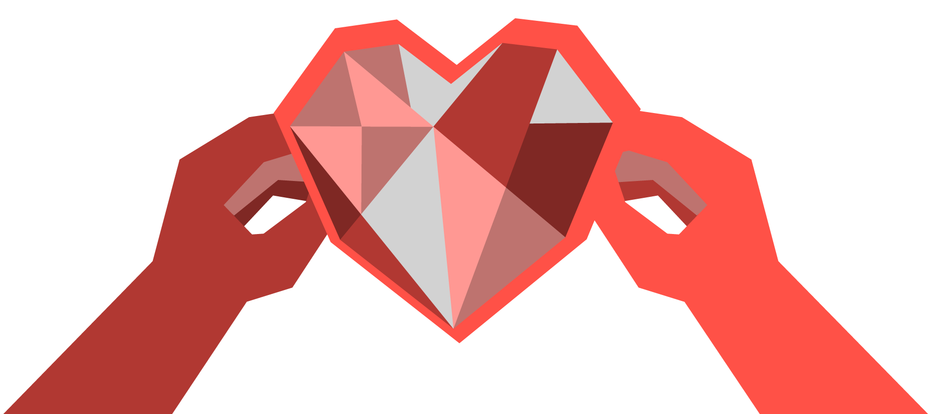 An illustration of two hands holding a bedazzled heart