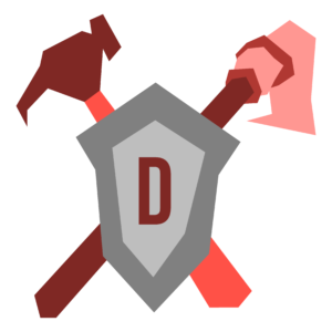 """An illustration fo a shield with a """"D"""" on it with a hammer and mop crossed behind it."""