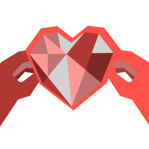 An illustration of two hands holding a bedazzled heart.