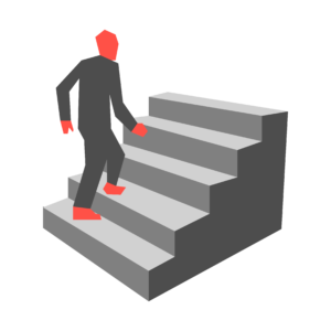 An illustration of a figure ascending a staircase.