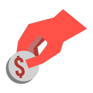 An illustration of a hand holding a coin with a dollar sign on it.