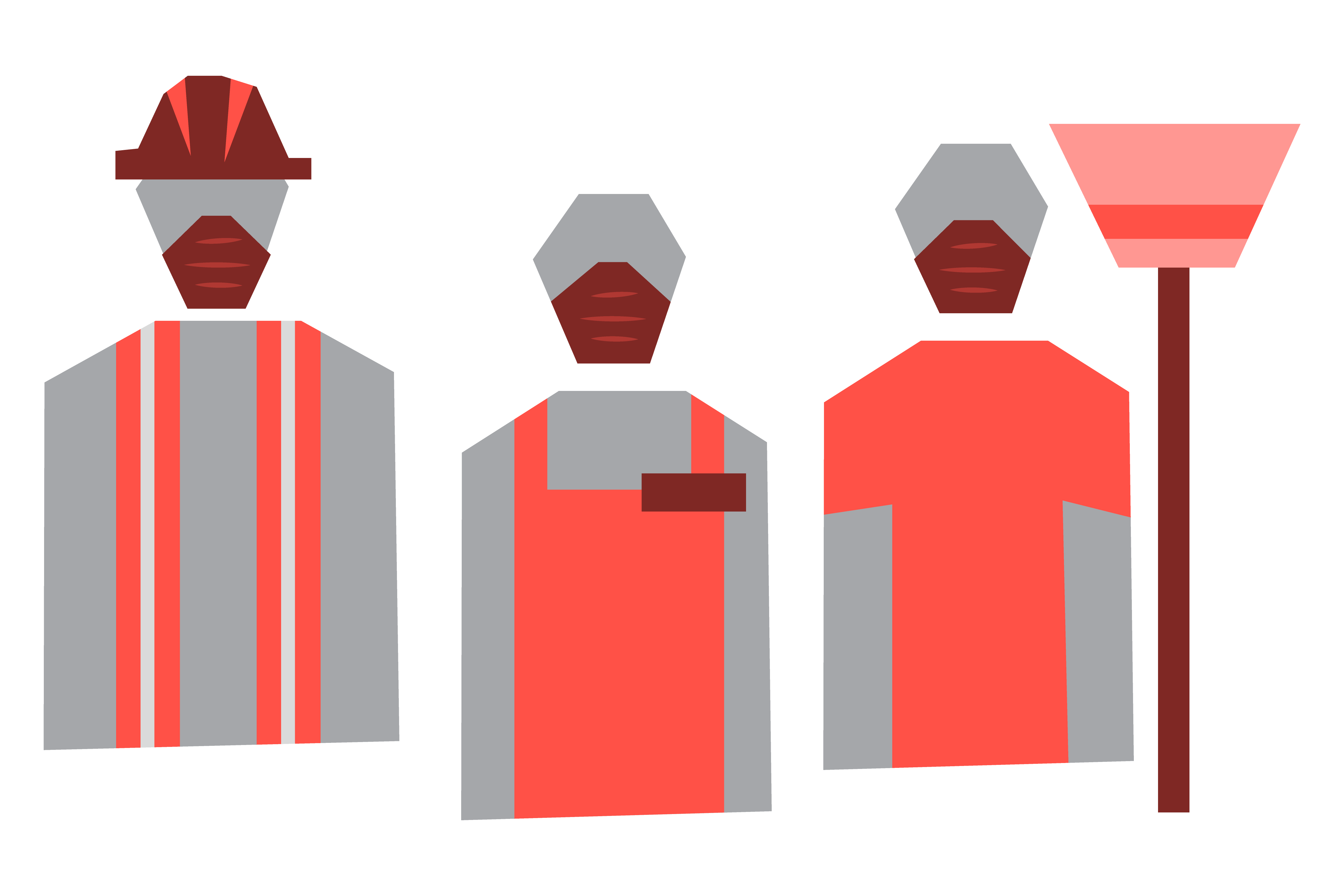 An illustration of workers wearing masks.