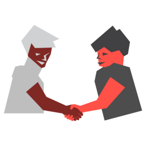 An illustration of two figures shaking hands.